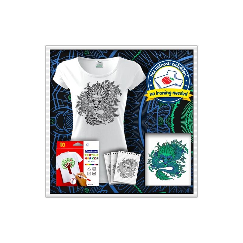 kreatívna antistresová omalovánka drak biele dámske vyfarbovacie tričko drak
