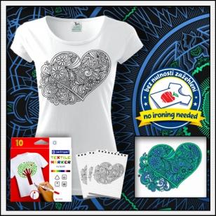 kreatívna antistresová omalovánka srdce biele dámske vyfarbovacie tričko láska