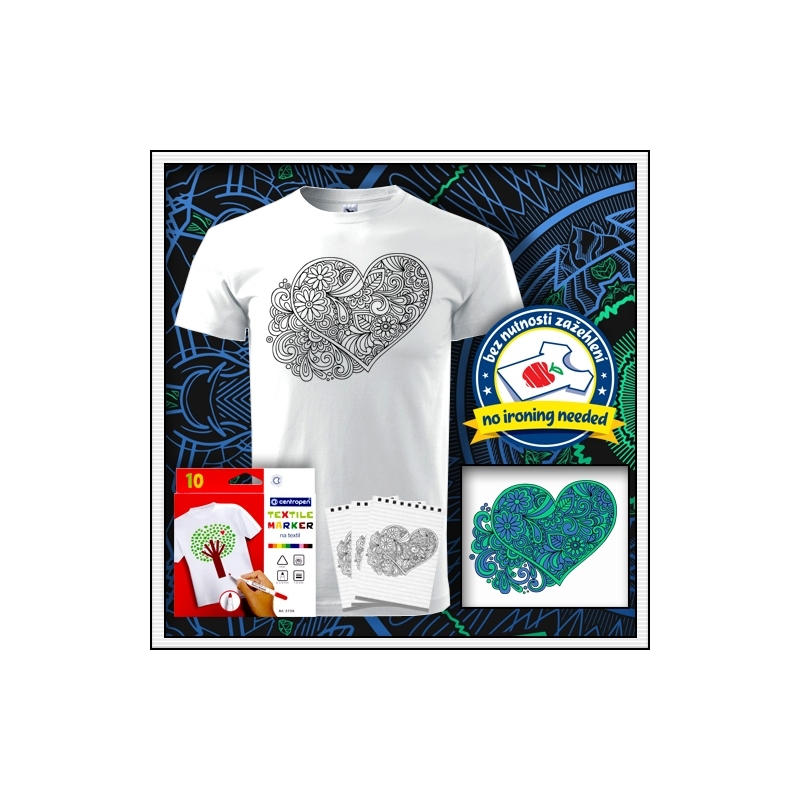Detské biele kreativne antistresové vyfarbovacie tričko s mandalou srdce