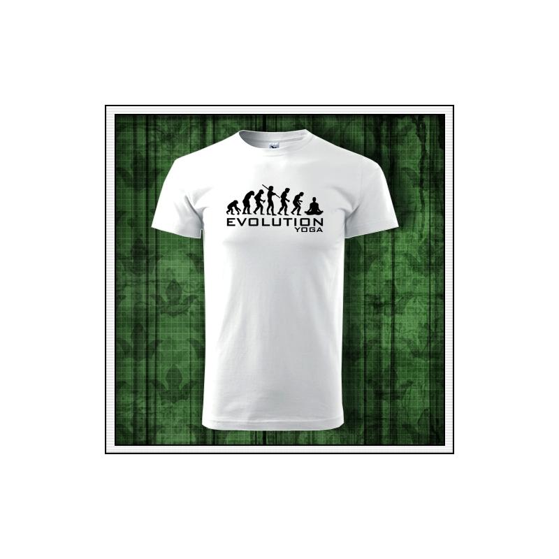 Biele pánske vtipné tričko pre jogistu evolution yoga