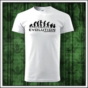 vtipné pánske biele tričko evolution computer, humorný darček k narodeninám