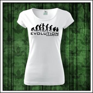biele dámske vtipné tričko evolution computer vtipný humorný darček