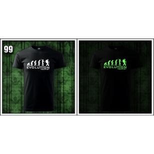 pánske vtipné svietiace čierne tričko evolution Tourist, turistické tričko