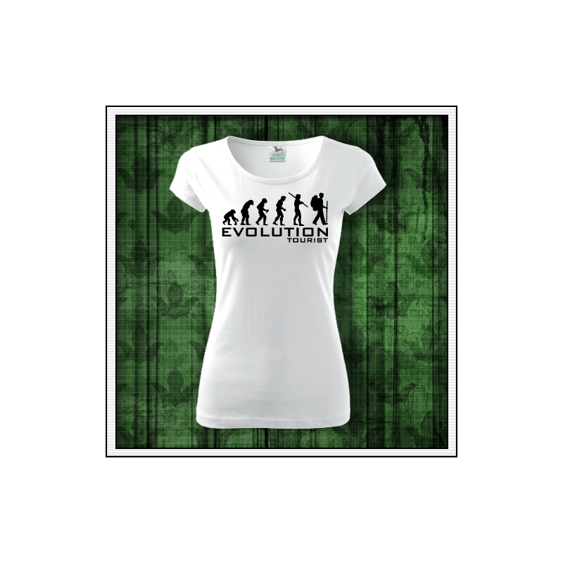 dámske vtipné turistické tričko evolution tourist darček k narodeninám