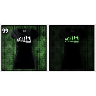 dámske vtipné svietiace turistické tričko evolution tourist darček k narodeninám