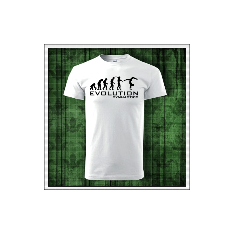 pánske vtipné gymnastické tričko evolution gymnastics humorný darček k narodeninám