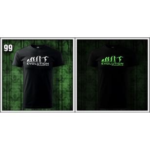 pánske vtipné svietiace čierne tričko evolution Gymnastics, gymnastické tričko