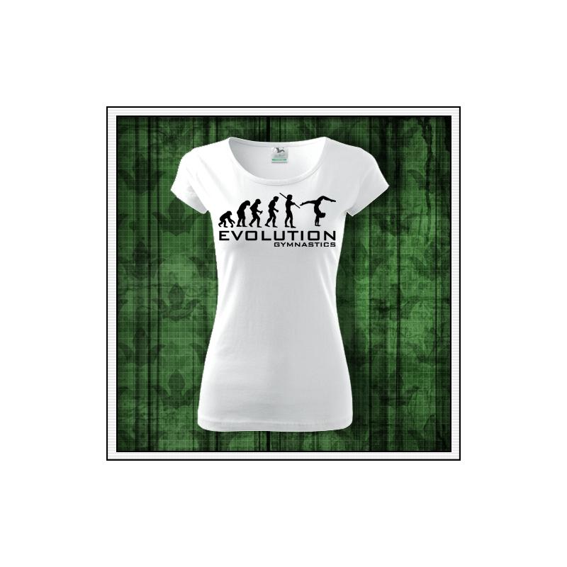 dámske vtipné gymnastické tričko evolution gymnastika darček k narodeninám