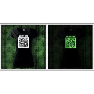 Svietiace dámske vtipné tričko QR kód humorný darček
