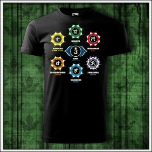 pánske čierne tričko čakry, darček sedem čakier
