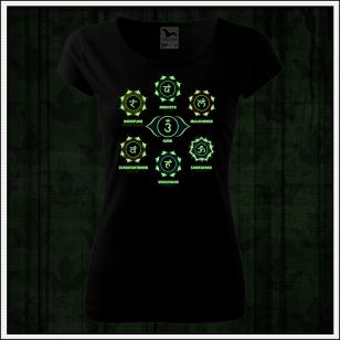 dámske svietiace tričko sedem čakier, čakry na tričku ako darček