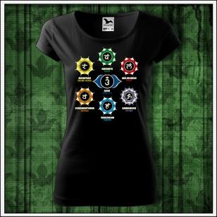 dámske čierne tričko čakry, darček sedem čakier