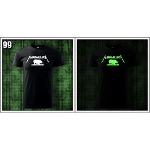 pánske svietiace vtipné tričko Mangallica so svietiacou fosforovou potlačou paródia Metallica