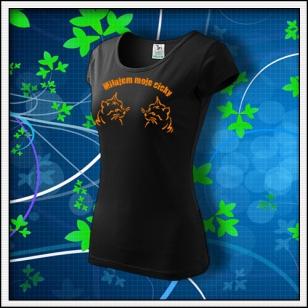 Milujem moje cicky - dámske tričko s oranžovou neónovou potlačou