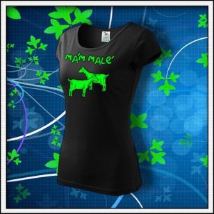 Mám malé kozy - dámske tričko so zelenou neónovou potlačou