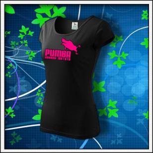 Pumba - dámske tričko s ružovou neónovou potlačou