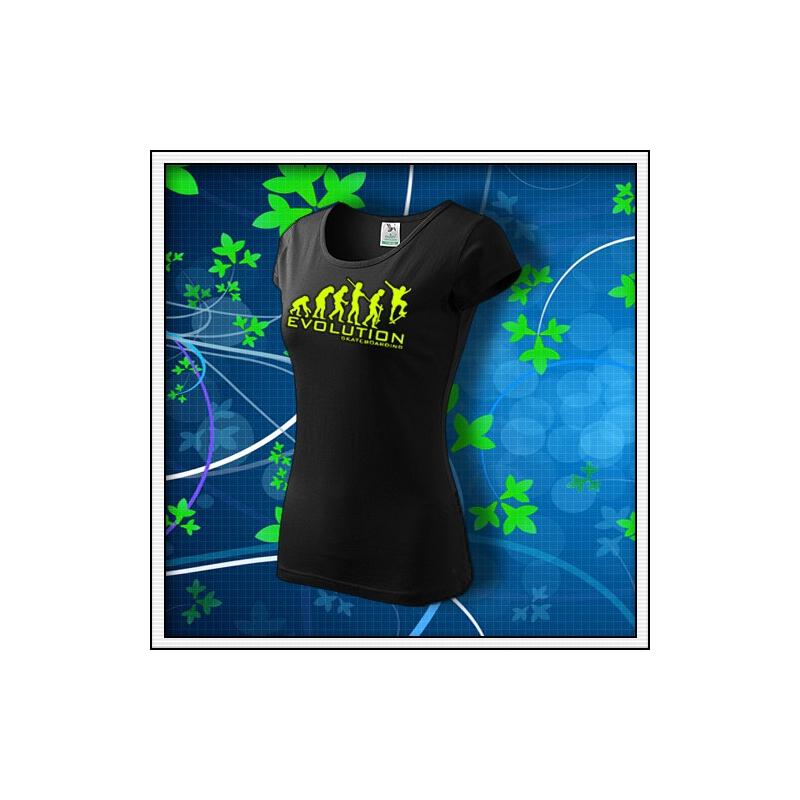 Evolution Skateboarding - dámske tričko so žltou neónovou potlačou