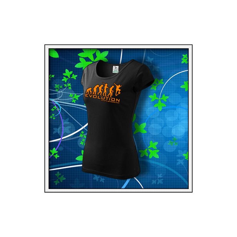 Evolution Skateboarding - dámske tričko s oranžovou neónovou potlačou