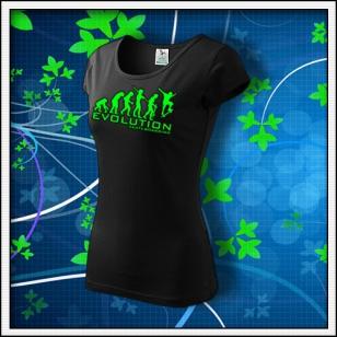 Evolution Skateboarding - dámske tričko so zelenou neónovou potlačou