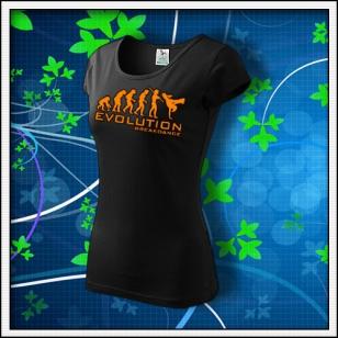 Evolution Breakdance - dámske tričko s oranžovou neónovou potlačou