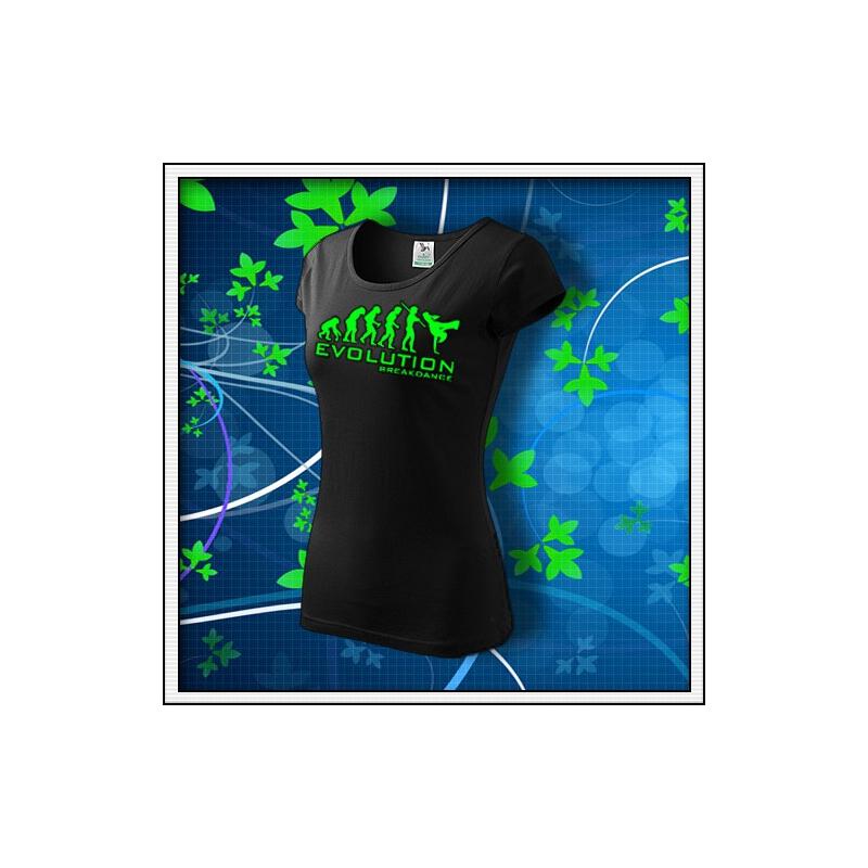 Evolution Breakdance - dámske tričko so zelenou neónovou potlačou