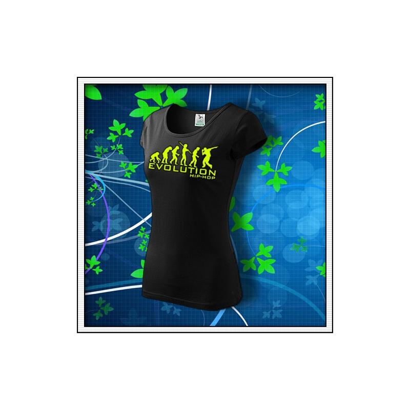 Evolution Hip-Hop - dámske tričko so žltou neónovou potlačou