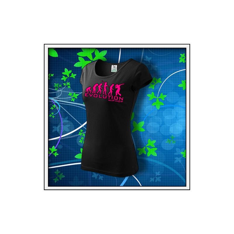 Evolution Hip-Hop - dámske tričko s ružovou neónovou potlačou