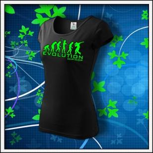 Evolution Hip-Hop - dámske tričko so zelenou neónovou potlačou