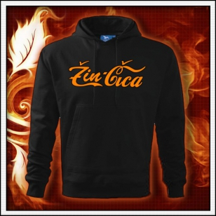 Žin Čica - čierna mikina s oranžovou neónovou potlačou