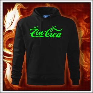 Žin Čica - čierna mikina so zelenou neónovou potlačou