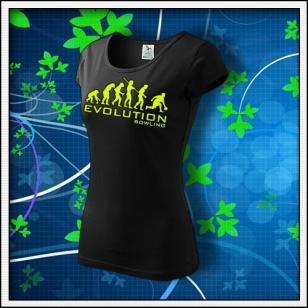 Evolution Bowling - dámske tričko so žltou neónovou potlačou