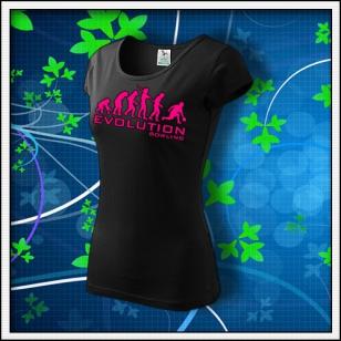 Evolution Bowling - dámske tričko s ružovou neónovou potlačou