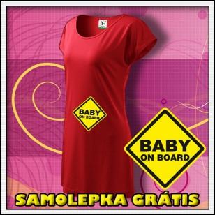 Baby on Board - červené tričko /  šaty + SAMOLEPKA