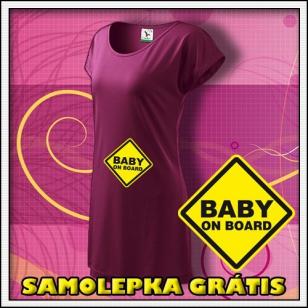 Baby on Board - fuchsiové tričko /  šaty + SAMOLEPKA