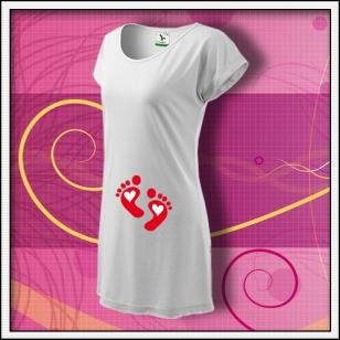 Nožičky 2 srdiečka - biele tričko / šaty