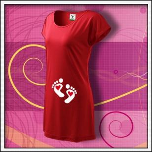 Nožičky 2 srdiečka - červené tričko / šaty