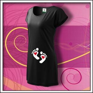 Nožičky 2 srdiečka - čierne tričko / šaty