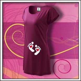 Nožičky 2 srdiečka - fuchsiové tričko / šaty