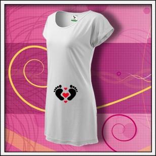 Nožičky 3 srdiečka - biele tričko / šaty