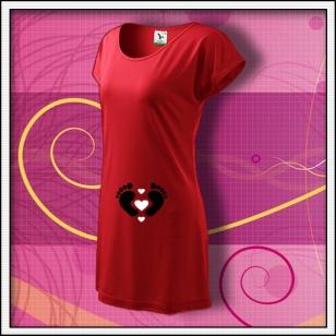 Nožičky 3 srdiečka - červené tričko / šaty