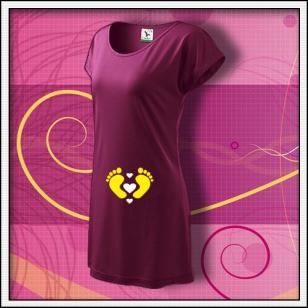 Nožičky 3 srdiečka - fuchsiové tričko / šaty