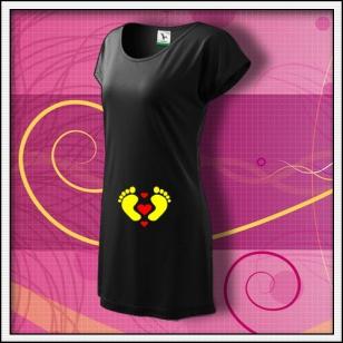 Nožičky 3 srdiečka - čierne tričko / šaty
