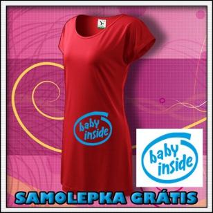 Baby Inside - červené tričko / šaty + SAMOLEPKA