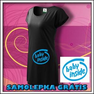 Baby Inside - čierne tričko / šaty + SAMOLEPKA