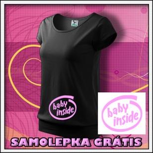 Baby Inside s ružovou potlačou - čierne + SAMOLEPKA