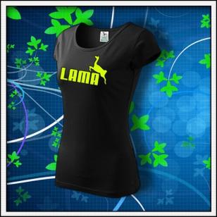 Lama - dámske tričko so žltou neónovou potlačou