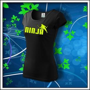 Ninja - dámske tričko so žltou neónovou potlačou