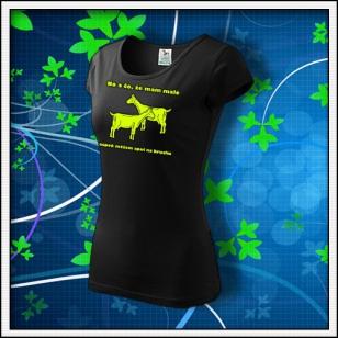 No a čo, že mám malé kozy - dámske tričko so žltou reflexnou potlačou