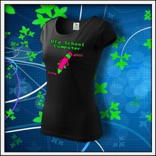 Old School Computer - dámske tričko s ružovo zelenou neónovou potlačou