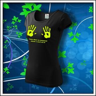 Dlane - dámske tričko so žltou neónovou potlačou